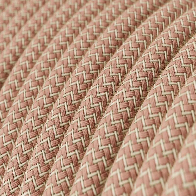 Okrugli električni kabel RD71 Cik-Cak, prirodni lan i ružičasti pamuk