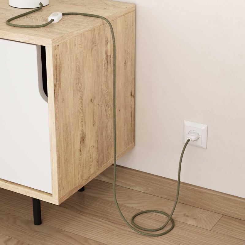 Okrugli električni kabel RD72 Cik-Cak, prirodni lan i timijan zeleni pamuk