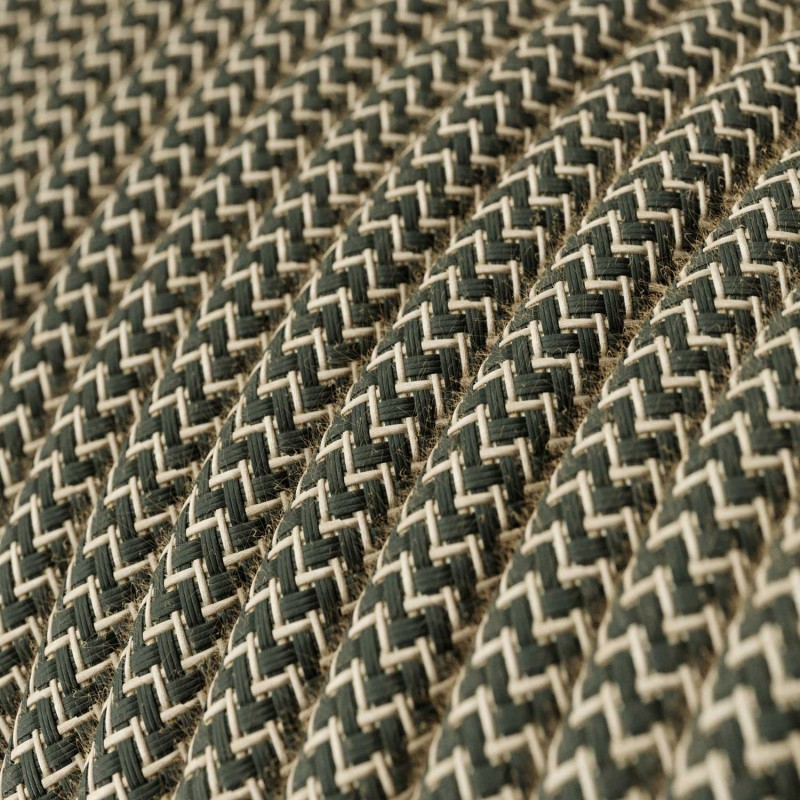 Okrugli tekstilni električni kabel Cik-Cak RD74, prirodni lan i antracit pamuk