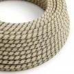 Okrugli tekstilni električni kabel RD54 crte, prirodni lan i antracit pamuk