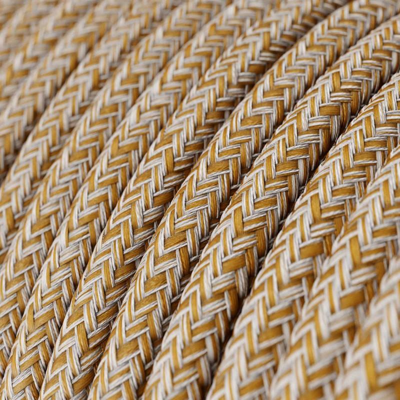 Okrugli tekstilni električni kabel RS82 crvenkasti tvid - lan, gliter i braon pamuk