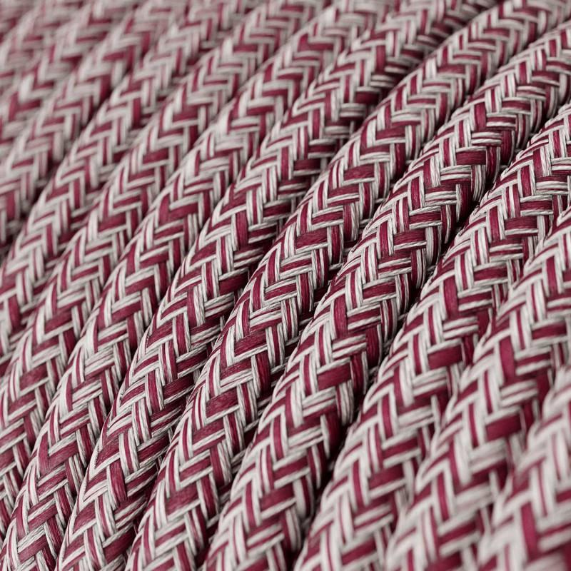 Okrugli tekstilni električni kabel RS83 bordo tvid - lan , gliter i bordo pamuk