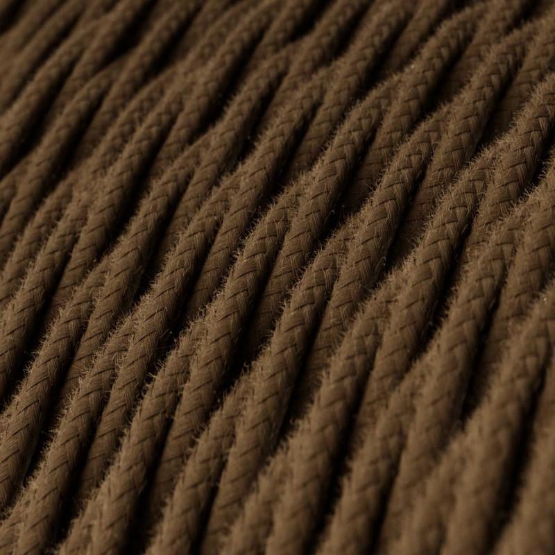 Zamotan tekstilni električni kabel TC13 braon pamuk