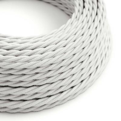 Zamotan tekstilni električni kabel TC01 bijeli pamuk