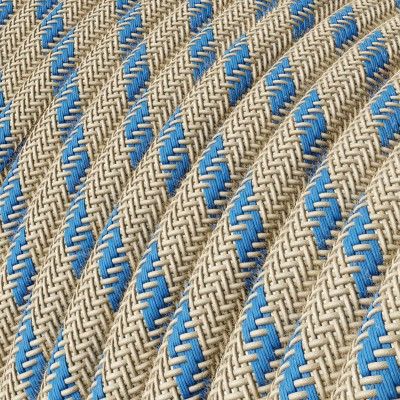Okrugli električni kabel, RD55 crte, lan i nebesko plavi pamuk