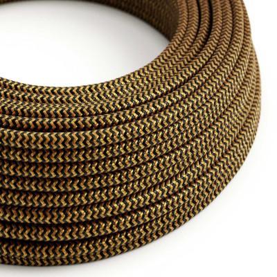 "Okrugli tekstilni električni kabel ""ZigZag"" RZ24, zlatno-crni"