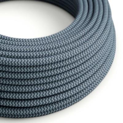 Okrugli tekstilni električni kabel, pamuk, zig-zag, kameno sivi i Ocean RZ25