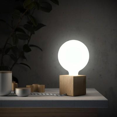 Posaluce Cubetto, naša drvena stolna lampa u kompletu s žaruljom, tekstilnim kabelom , prekidačem i utikačem