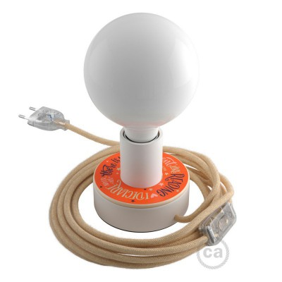 Posaluce MINI-UFO drvena lampa s Pemberley Pond diskom, u kompletu s žaruljom, tekstilnim kabelom , prekidačem i utikačem