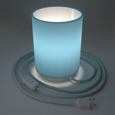 Posaluce metal s Cilindro Celeste sjenilom, u kompletu s žaruljom, tekstilnim kabelom , prekidačem i utikačem