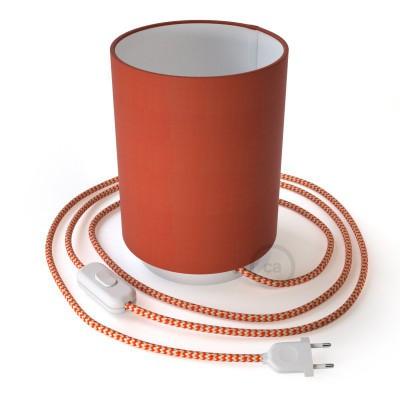 Posaluce metal s Cilindro Cinette Aragosta sjenilom, u kompletu s žaruljom, tekstilnim kabelom , prekidačem i utikačem