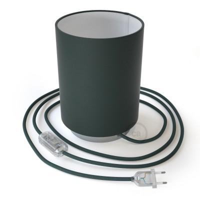 Posaluce metal s Cilindro Cinette Petrolio sjenilom, u kompletu s žaruljom, tekstilnim kabelom , prekidačem i utikačem