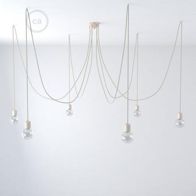 Izrađen u Italiji višestruki luster s 6 visilica u kompletu s žaruljama, tekstilnim kabelom i keramičkim komponentama