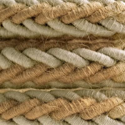 2XL pleteni mornarski električni kabel od jute i sivog lana, 2x0.75. Promjera 24mm.